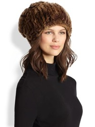 Surell Slouchy Rabbit Fur Hat Golden Brown