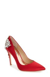 Badgley Mischka Women's 'Gorgeous' Crystal Embellished Pointy Toe Pump Red Satin