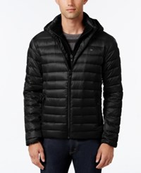 Calvin Klein Men's Packable Hooded Puffer Coat Black