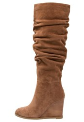 French Connection Chevron Wedge Boots Tan Light Brown