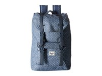 Herschel Little America Mid Volume Limoges Crosshatch White Polka Dot Navy Synthetic Leather Backpack Bags Blue