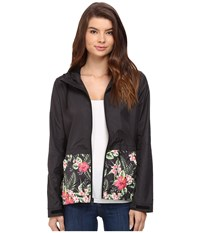 Hurley Blocked Runner Jacket Black Floral Women's Coat Multi