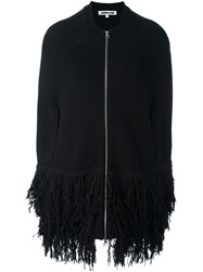 Mcq By Alexander Mcqueen Cocoon Style Fringed Jacket Black