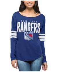 47 Brand '47 Women's New York Rangers Courtside Long Sleeve T Shirt Blue