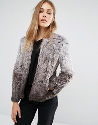 Qed London Ombre Faux Fur Coat Grey