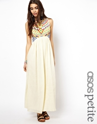 Asos Petite Exclusive Maxi Dress With Embroidered Aztec Detail Ivory