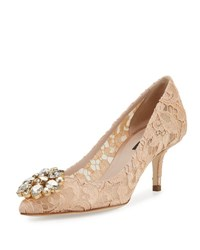 Dolce And Gabbana Jewel Embellished Lace Pump Albicocca
