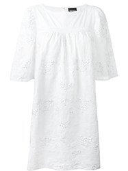 Ermanno Scervino Embroidered Boat Neck Shift Dress White