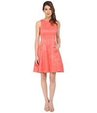Maggy London Plisse Rose Fit And Flare Dress Coral Reef Women's Dress Red