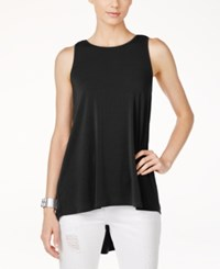 Vince Camuto Pleated Back High Low Blouse Rich Black