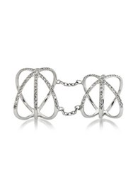 Bernard Delettrez 18K White Gold Criss Cross Articulated Ring W Diamonds Pave