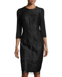 Alexia Admor French Design 3 4 Sleeve Embroidered Lace Panel Dress Black