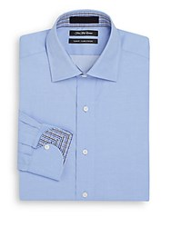 Saks Fifth Avenue Slim Fit Check Cuff Cotton Dress Shirt Blue