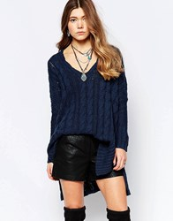 Free People Easy Cable V Neck Jumper In Turkish Sea Turkish Sea Blue