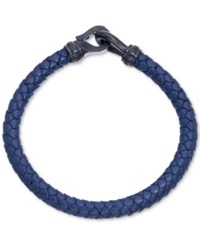 Esquire Men's Jewelry Navy Leather Bracelet In Black Ip Over Stainless Steel First At Macy's