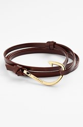 Men's Miansai Gold Hook Leather Bracelet Brandy