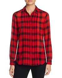 Foxcroft Buffalo Plaid Blouse Holiday Red