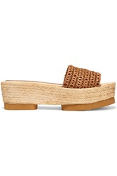 Paloma Barcelo Trenzalato Woven Leather Sandals Brown