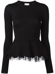 Red Valentino Lace Detail Peplum Top Black