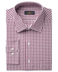 Club Room Estate Men's Classic Fit Wrinkle Resistant Wine Check Dress Shirt Only At Macy's