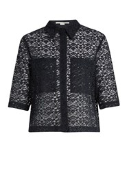 Stella Mccartney Short Sleeved Cotton Blend Lace Shirt Navy
