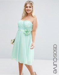 Asos Curve Wedding Chiffon Midi Dress With Corsage Mint Green