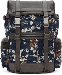 Dolce And Gabbana Navy Bird Print Backpack