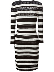 Alexander Mcqueen Victorian Lace Knit Striped Dress Black
