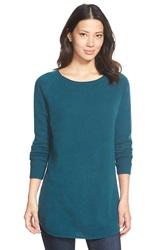Halogen Shirttail Wool And Cashmere Boatneck Tunic Regular And Petite Teal Deep