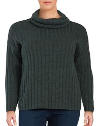 Lord And Taylor Plus Plus Turtleneck Ribbed Pullover Boxwood Heather