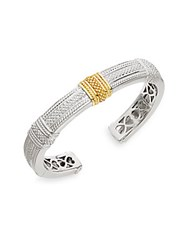 Judith Ripka Classic Sterling Silver And 18K Yellow Gold Cuff Bracelet Silver Gold