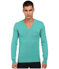 Vivienne Westwood Colorblock V Neck Sweater Turquoise