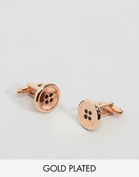Simon Carter Button Cufflinks In Rose Gold Exclusive To Asos Rose Gold