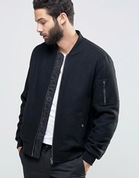 Asos Wool Mix Bomber Jacket With Ma1 Pocket In Black Black