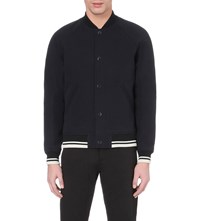 A.P.C. Teddy Cotton And Wool Blend Bomber Jacket Navy