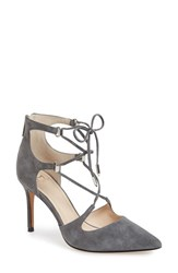 Marc Fisher Women's Ltd 'Toni' Lace Up Pointy Toe Pump Grey Suede