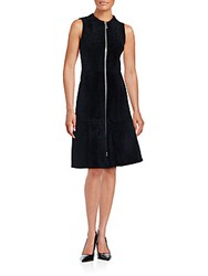 Proenza Schouler Sleeveless Zipper Front Fur Dress Black