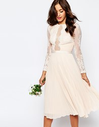 Asos Wedding Pretty Lace Eyelash Pleated Midi Dress Mint