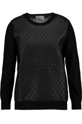 Maison Kitsune Quilted Shell And Knitted Sweater Black
