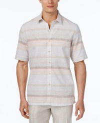 Tasso Elba Men's Linen Sunset Horizontal Stripe Short Sleeve Shirt Classic Fit Orange Combo