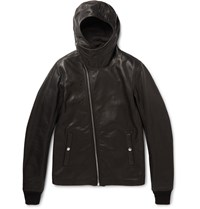 Rick Owens Slim Fit Hooded Grained Leather Jacket Black
