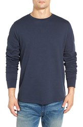 Threads For Thought Men's Double Knit Long Sleeve Thermal T Shirt Blue Night