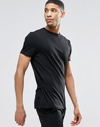 Asos Longline T Shirt With Waist Tie And D Ring Black