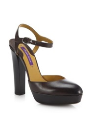 Ralph Lauren Telma Leather Platform Pumps Brown