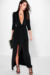 Boohoo Double Layer Tie Front Maxi Dress Black