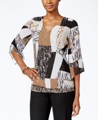 Jm Collection Printed Bell Sleeve Top Only At Macy's Cheetah Glass