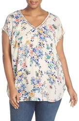 Daniel Rainn Plus Size Women's Back Inset Floral Print Short Sleeve Top