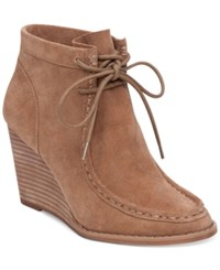 Lucky Brand Women's Ysabel Lace Up Wedge Booties Women's Shoes Sesame