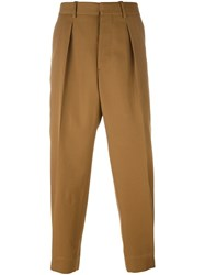 Marni Front Pleat Tapered Trousers Brown