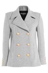 Balmain Virgin Wool Jacket With Embossed Buttons Grey
